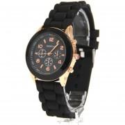 Reloj Blackmamut Gold Street Watch Mini Extensible De Silicón Incluye Estuche Blister - Color Negro
