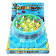 [Blue] Round And Round Aqua Fishing Play Melody Light Board Games Catching Fish