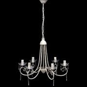 vidaXL Krištáľový visiaci luster, elegantný, biely so 6 objímkami na žiarovky