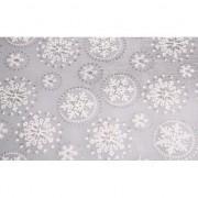 Geen Zilveren tafelloper sneeuwvlok met glitters 30 x 270 cm