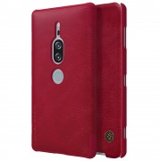 NILLKIN Qin Series Card Holder Leather Phone Shell for Sony Xperia XZ2 Premium - Red