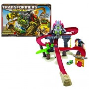 Hasbro Year 2009 Transformers Movie Series 2 Revenge of the Fallen Robot Powered Machines RPMs Vehicle Track Set - CONSTRUCTICON DEVASTATOR SHOWDOWN with Power Launcher, Lights and Sounds of Optimus Prime and Constructicon Devastator Plus Bonus Autobot