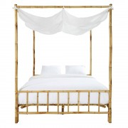Maisons du Monde Bamboo and White Fabric 160 x 200 Four-Poster Bed Coconut