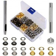DIY Crafts 2 Pieces Grommet Tools Punch & Install Tool Golden & Silver(Pack of 200 Pcs)