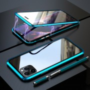 LUPHI Magnetic Installation Metal Frame + Tempered Glass Protective Shell for iPhone 11 Pro Max 6.5-inch - Cyan