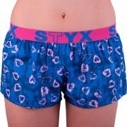 Styx Dámské trenky Styx art sportovní guma tmavě modrá srdíčka (T757) XL