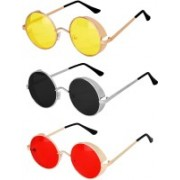 Rich Club Round Sunglasses(Black, Red, Yellow)