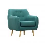 Sillón diseño tejido azul petroleo patas madera clara OLAF - Miliboo