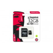 Memóriakártya, Micro SDHC, 32GB, Class 10, UHS-I, 80/10MB/s, adapterrel, KINGSTON Canvas Select (MKMS32GCA)