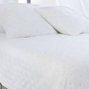 Cuvertura pat alba matlasata din bumbac Leonie