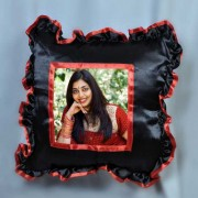 Big Black Square Cushion With Personalized Photo and Red Lace Border