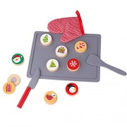 Timy Slice and Bake Wooden Christmas Cookie Play Food Set Pretend Play Toys