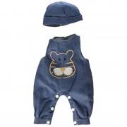 Salopeta jeans cu palarie pentru papusi Miniland, 40-42 cm