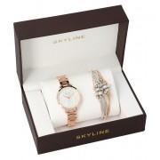 SKYLINE dámská dárková sada zlatorůžové hodinky s náramkem 2950-7