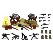 Arundel Services EU Mini Figures G6 Army Ww2 War Pack with Military Weapons and Accessories Building Bricks Guns Soldier Blocks Lego Compatible Minifigures