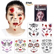 Halloween Temporary Face Tattoos - Skull Scar Spider Blood Bat Rose Floral Fake Tattoos Sticker for Women Men Kids Boys With 6 Realistic Full Face Tattoo Mask Waterproof by Face Forever