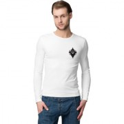 Cliths Men's White Cotton Ghost Logo Print Slim Fit Printed T-shirt
