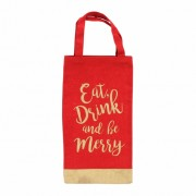 Christmas Eat, Drink and be Merry Bottle Gift Bag