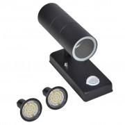 vidaXL LED Fal Lámpa Rozsdamentes Acél Henger Alakú Fekete Érzékelő