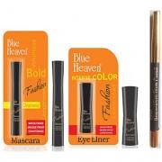 Blue Heaven Combo of Black Eyeliner Mascara and Eyebrow Pencil