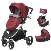 CASUALPLAY - Playxtrem Skyline Set športový kočík, autosedačka 0-13 kg, vanička a prebalovacia taška - Autumn (Red)