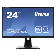 Iiyama B2483HSU-B1DP LED-monitor 61 cm (24 inch) 1920 x 1080 pix Full HD 2 ms DisplayPort, DVI, VGA, Hoofdtelefoon (3.5 mm jackplug) TN LED