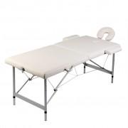 vidaXL Кремавобяла сгъваема масажна кушетка 2 зони с алуминиева рамка