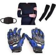 Combo Pack For Pro Biker Gloves Blue-XL+Arm Sleeve Pollution Mask-Black