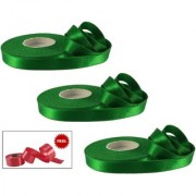 De-Ultimate (Pack Of 3) Green 1 Inch Satin Ribbons Roll of 18 Mtr for Decoration Gift Wrapping Craftwork With Freebie