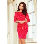 numoco Dámské červené sportovní puntíkované šaty se zavazováním a kapsičkami model 7243926 XXL