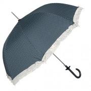 Clayre & Eef JZUM0009BL Esernyő 93x90cm sötétkék fehér pöttyös