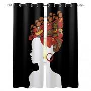 Image Curtain Cortinas y Cortinas para Ventanas para Cocina, Ventanas, dormitorios, Sala de Estar, Girasol, Africano Womanicn6237, 2 Panel Set, 52 Inch Wide by 72 Inch Long