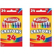 Set of 2 Boxes Playskool 24 Count Each Box Bright Colors Crayons