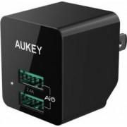 Incarcator de perete Aukey PA-U32 2 USB 2.4A Conectori priza pliabili Negru