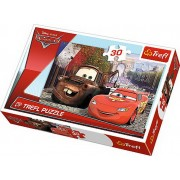 Puzzle Bucsa si Fulger Mcqueen in Europa, 30 piese