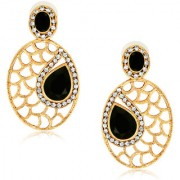 Spargz Black Elegant Oval Shape Drop Earring With Gold Finish AIER 549