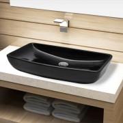 vidaXL Chiuveta baie din ceramică, dreptunghiular, negru