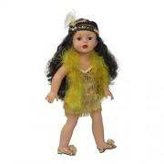 Arianna Gold Flapper Dress Headband W/ Feather Boa Fits 18 Inch American Girl Dolls