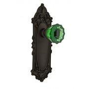 Nostalgic Warehouse Nostálgico Warehouse 722668placa Victoriana Single Dummy Crystal Emerald Tirador de puerta de vidrio en Oil-rubbed Bronze