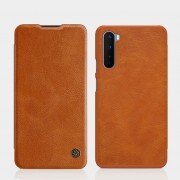 NILLKIN Qin Series Card Holder Leather Mobile Phone Case for OnePlus Nord - Brown