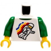 LEGO LOOSE TORSO White & Green Shirt with Floating Astronaut Design