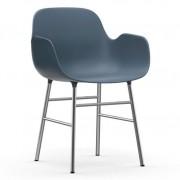 Normann Copenhagen Form Armchair stoel met verchroomd onderstel blauw