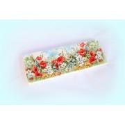 Cuier din lemn handmade pentru chei cu motiv flori de camp - 25cm - 1073