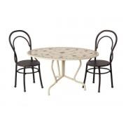 Maileg Dining table set, mini - anthracite - taille 8 cm - à partir de 36 mois