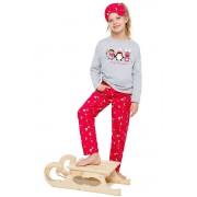 Szofika lányka pizsama pingvinnel, szürkés-piros 128