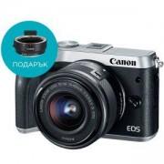 Цифров фотоапарат Canon EOS M6 + EF-M 15-45mm f/3.5-6.3 IS STM, Сребрист, AJ1725C012AA_AC6098B005AA