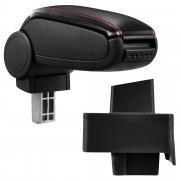 Подлакътник [pro.tec]® Audi 80 B3 + B4 / Audi 80 Cabrio / Audi 90 с контейнер за съхранение Изкуствена кожа/Черен с червен шев