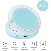 Make-Up Spiegel Met LED Verlichting 3X Vergroting - Draagbaar - Hoge Kwaliteit - Cosmetica Spiegel - Babyblauw - Oplaadbaar -Fizzy