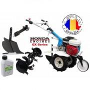 Motocultor Profesional AGT 6500 GP160 cu motor Honda 5.5 Cp ,cu freze de pamant 80 cm , plug de bilonat , roti pneumatice si ulei Honda