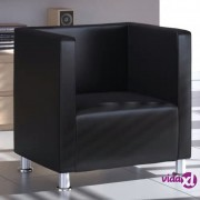 vidaXL Fotelja s Kockastim Dizajnom Umjetna Koža Crna